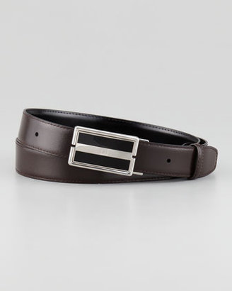 Alfred Dunhill Reversible Leather Belt, Black/Brown