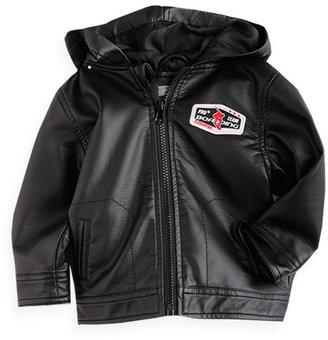 Pumpkin Patch Hooded Mock Leather Biker Jacket