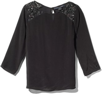French Connection Encrusted Lace 3/4 Sleeve Top