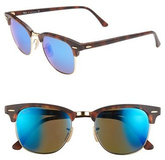 Women's Ray-Ban 'Clubmaster' 51Mm Sunglasses - Blue Mirror $175 thestylecure.com
