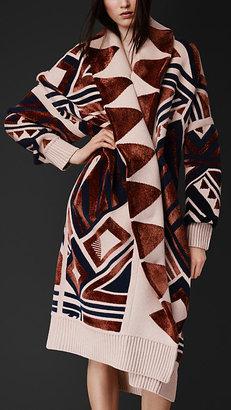 Burberry Geometric Knit Blanket Coat