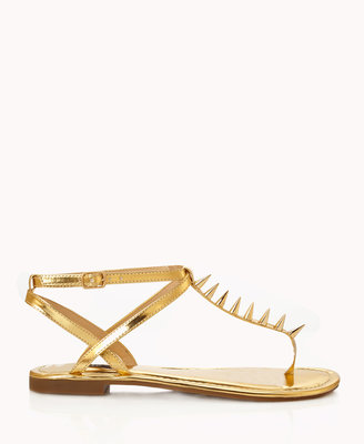 Forever 21 Spiked Metallic Thong Sandals