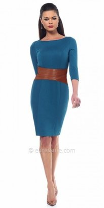 eDressMe NUE by Shani Three Quarter Sleeve Mixed Media Jersey Day Dress