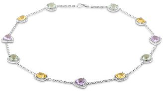 Ice.com 15 1/2 Carat Amethyst, Green Amethyst and Citrine Sterling Silver Necklace