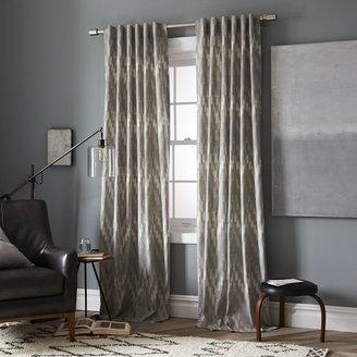 west elm Cotton Canvas Printed Curtain – Ikat Chevron