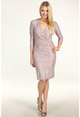 Tahari by Arthur S. Levine Tahari by ASL - Hanson Banced Lack 3/4 Length Sleeve Dress (Pink Lace) - Apparel