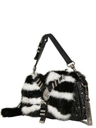 Versace Chelsea Mink Fur & Leather Shoulder Bag