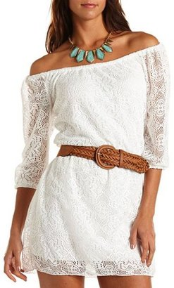 Charlotte Russe Belted Lace Shift Dress