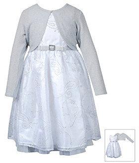 Sweet Heart Rose Girls' 2T-4T White/Silver Cardigan Dress