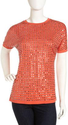 Diane von Furstenberg Enid Cupid Sequins Tee, Red Orange