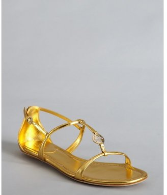 Gucci gold metallic leather logo charm strappy sandals
