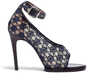 Carven Navy Lace And Patent Peeptoe High Heels