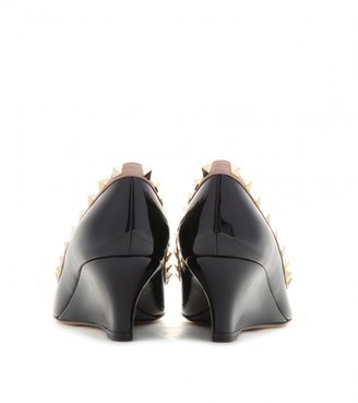 Valentino Rockstud patent-leather wedges