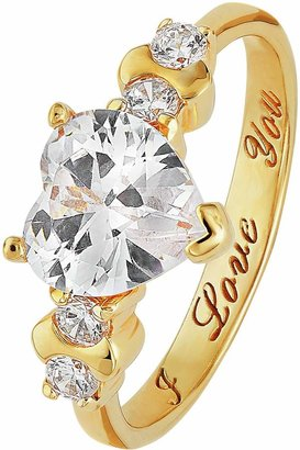 Moon & Back 9ct Gold Plated Silver CZ 'I Love You' Ring
