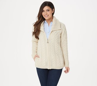 Aran Craft Merino Wool Zip Front Cardigan