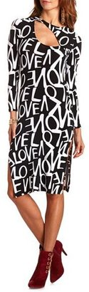 Charlotte Russe Cutout Neck Printed Midi Dress