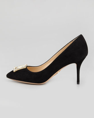 Charlotte Olympia Eleanor Crystal-Buckle Suede Pump, Black