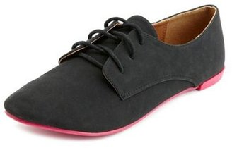 Charlotte Russe Nubuck Neon Sole Lace-Up Oxford