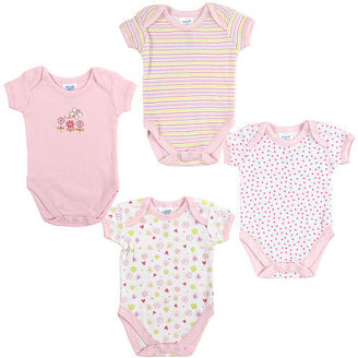 SpaSilk 4 Pack Bodysuit with Flower Embroidery 18-24 Months - Pink