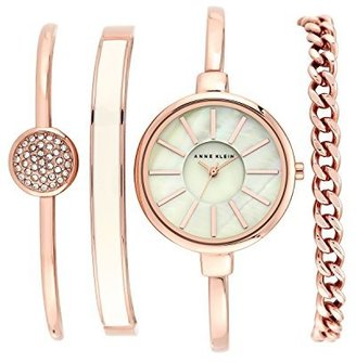 Anne Klein Women's AK/1470RGST Rose Gold-Tone Bangle Watch and Bracelet Set $150 thestylecure.com