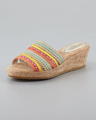 Eric Javits Squishee Braided Raffia Slide Sandal, Tropic Mix
