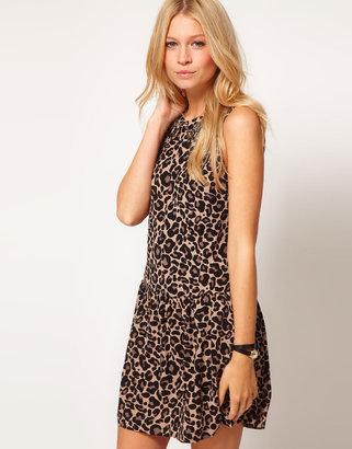 Oasis Drop Waist Animal Print Dress With Embellished Collar