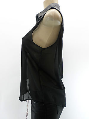 Forever 21 NWT Black Chiffon Button Up Top Pleather Leather Trim Hi Lo Low S M L