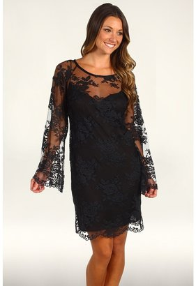 Nicole Miller All Over Lace Bell Sleeve Dress (Black) - Apparel