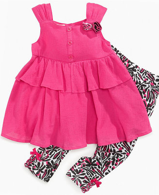 Kids Headquarters Kids Set, Little Girls Tiered Tunic and Printed Leggings
