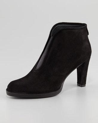 Stuart Weitzman Centrum Suede Gored Ankle Boot, Black