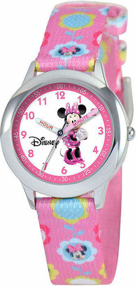 Character Disney Time Teacher Minnie Mouse Kids Pink Graphic Strap Watch