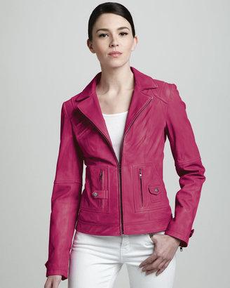 Neiman Marcus Pocket-Detail Leather Jacket