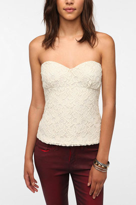 Urban Outfitters Pins and Needles Lace Zip Back Strapless Top