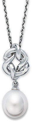 Honora Fresh by Pearl Necklace, Sterling Silver Cultured Freshwater Pearl Knot Pendant (10mm)