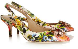Dolce & Gabbana Embellished floral-brocade pumps