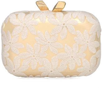 Kotur Margo Floral-Embroidered Minaudiere, White/Gold
