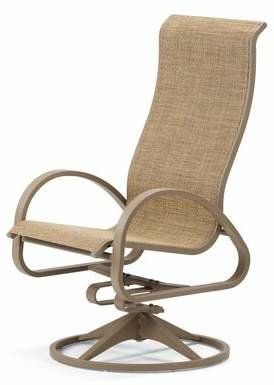 Telescope Casual Aruba II Supreme Swivel Patio Dining Chair (Set of 2) Telescope Casual Fabric: Yellow 43D, Finish: Aged Bronze
