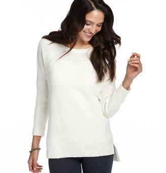 LOFT Tonal Stripe Hi-Low Hem Sweater