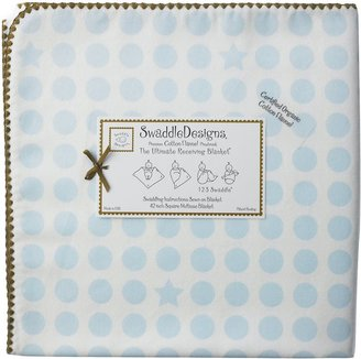 Swaddle Designs Organic Ultimate Receiving Blanket - Pastel Blue Dots and Stars with Mocha Trim