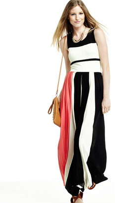 French Connection Striped Pleated Maxi Dress, Black/Acid Zest/Party Pink