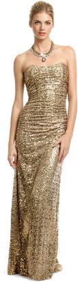 Badgley Mischka Gold Glitterati Gown