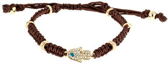 Blu Bijoux Goldtone Pave Hamsa Brown Macrame Bracelet