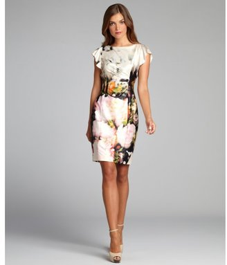 Kay Unger cream and pink floral printed flutter sleeve stretch dress