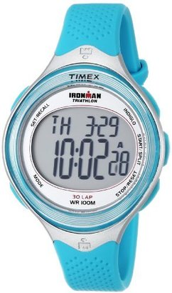 Timex Women's T5K602 Ironman Classic 30 Mid-Size Sea Blue Resin Strap Watch $55 thestylecure.com