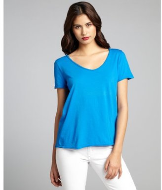 Three Dots azure cotton relaxed scoop neck t-shirt