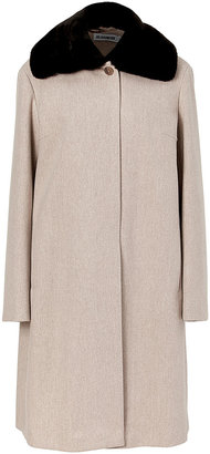 Jil Sander Oatmeal Heather Wool Coat with Removable Fur Collar