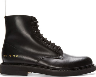 Common Projects Black Leather Lace-Up Officer's Boots