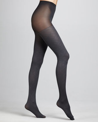 Hue Diamond-Pattern Tights, Cobblestone