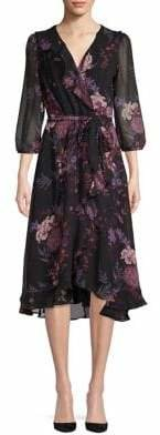 Gabby Skye Floral Ruffled Wrap Dress