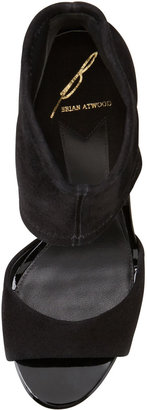 Brian Atwood Correns Suede Ankle-Band Sandal, Black